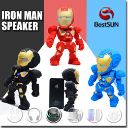 Wholesale Hot Model Mp3 - Iron Man model bluetooth speaker with LED Flash light Mini wireless subwoofers bluetooth support TF FM USB hot selling