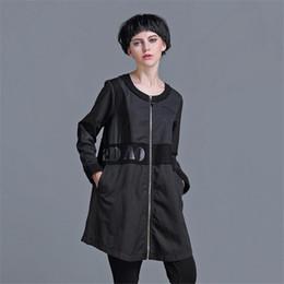Wholesale Long Skirt Plus Size Patterns - Wholesale- Autumn Women Jacket Large size Tops Long Sleeve Coat Retro jacket splicing Casual O-neck Outerwear Plus Size women basic coats