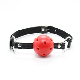 Wholesale Pink Bondage Harness - BDSM Bondage Slave Head Harness Ball Gag Pu Leather Alternative Toys Hollow Mouth Gag Sex Games Mouth Stuffed Tool Apertural Plug Mouth Plug