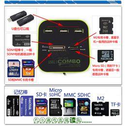 2019 micro sd для мобильных телефонов Оптовая продажа-новая технология 2.0 концентратор 3 порта USB высококачественный адаптер мобильного телефона для TF/M2/SDHC/SD/RS-MMC/Mini SDHC/MS Micro(M2)/USB/U диск дешево micro sd для мобильных телефонов