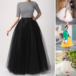 Wholesale Tutu Plus Sizes - Factory Custom Made Women Tutu Skirts Fashion Party Dress Floor Length Adult Long Girl Tulle Prom Gowns A Line Plus Size Petticoat Skirts
