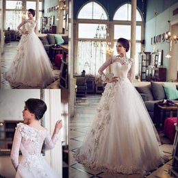 Wholesale Vintage Greek Wedding Gowns - 2016 Vintage Zipper Long Sleeve Wedding Dress Lace Custom Made Plus Size Greek Wedding Gowns With Sleeves Spring Bridal Dresses