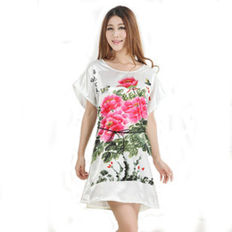 Wholesale Cute Red Sleepwear - Wholesale-Hot New Summer Style Women Silk Rayon Nightgown Cute Cartoon Sleepwear Short Sleeve Nightdress 20 Colors One Size S0103