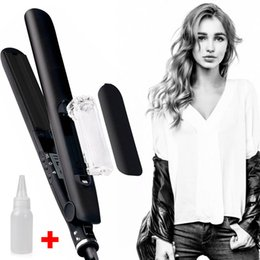 Wholesale Hair Rolling Irons - New Spray Straight hair hair curler Flat iron Ceramic straight Steam splint Straight roll Dual use Curling irons