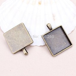 Wholesale Square Glass Cabochon Wholesale - 10pcs lot antique bronze (glass size 25mm)square Cabochon Cameo Setting Base Pendant Trays With Glass Insert Domes