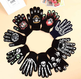 Wholesale Knitted Christmas Gloves - DHL Christmas Skull Gloves Knitting Soft Five Fingers Gloves Black Halloween Party Cosplay Novelty Christmas Gifts for Adults