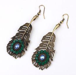 Wholesale Shape Leave - Bohemia Style Leaves Shape Earrings 10PRS Boutique Hook Earrings Women Exotic Holiday Earrings Green Diamond Charm Earrings