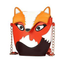 Wholesale hot cartoons fox - Wholesale- 2017 Hot Sale Cartoon Fox Owl Design PU Leather Handbag Shoulder Bag Messenger Bag Retro Style LXX9