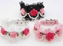 Wholesale Flower Cat Collars - Small Middle PU Dog Cat Fashion Collar With Lace&Flower Cute Pearl Pet Necklace Luxury Wholesale 3 Color 2 Size Mix Order 10PCS LOT