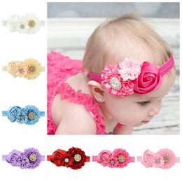 Wholesale Crystal Headbands For Flower Girls - 8pcs  Lot Rose Flower Headband Baby Girl Crystal Rhinestone Newborn Princess Elastic Hairband Accessories For Children 586