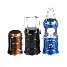 super bright solar camping lanterns Promo Codes - Umlight1688 Solar lamps 2 in1 Portable Outdoor LED Camping Lantern Solar lights Collapsible Light Outdoor Camping Hiking Super Bright LED