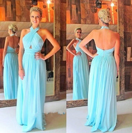 Wholesale Turquoise Long Halter Dress - 2017 New Long Bridesmaid Dresses Halter Wedding Guest Wear Chiffon Sky Blue Turquoise Mint Party Dress Plus Size Backless Maid of Honor Gown