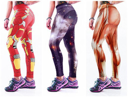 Wholesale Orange Irons - Iron Man Yoga Pants Europe Purple Skull Bone Muscle Muscular Strong Trousers Sports Skeleton Rose Skyscape Galaxy Long Leggings LNASlgs