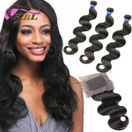 Wholesale peruvian hair silk closure piece - Silk Base Closures with 3 Bundls Peruvian Body Wave Human Hair Extensions XBL Unprocessed Hair Weave