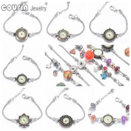 Wholesale Copper Clocks - New arrivals 12pcs lot wrist band Quartz Clock vintage silver style Charm bracelet wrist watch For women Dress 05