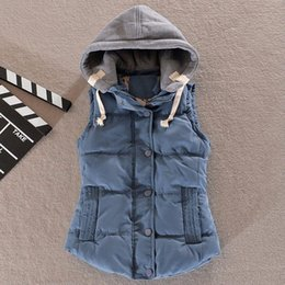 Wholesale Hooded Outerwear Vest - Women Autumn Winter Fashion Waistcoat Hooded Thick Warm Down Cotton Wool Collar Vest Female Large Size Jacket&Outerwear H317
