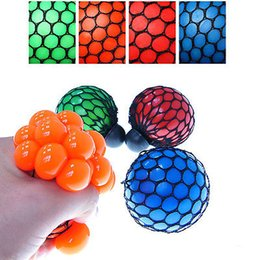 Wholesale Play Balls Kids - Wholesale- Kids Squishy Mesh Ball Grape Squeeze Toy Gag Gift Novelty in Sensory Fruity Play Practical Jokes