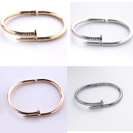 Wholesale Stainless Steel Screw Clasps Wholesale - Fashion Female Titanium Steel Nail Bracelets Screw Bangle lovers Simple Bangles Korean Accessories Nail bracelet Free DHL