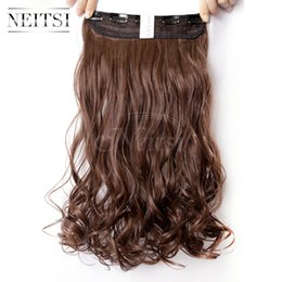 "Wholesale Kanekalon Weaving Hair - Neitsi 1PC 107g 22"" 8# Light Ash Brown 5Clips Kanekalon Synthetic Braiding Hair Pieces Clip In Hair Curly Wavy Weave Extensions"
