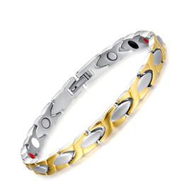 pulseira anti fadiga Desconto 21.5 cm Tendências Da Moda de Ouro Cor Prata Pure Titanium Magnético Anti-Fadiga Pulseiras Para As Mulheres Homens Pulseira Jóias Presente de Natal B839S