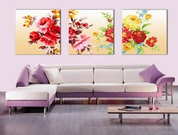 Wholesale Peony Flowers Pictures - Beautiful Peony Flowers Fine Floral Painting Giclee Print On Canvas Home Decor Wall Art Set30249