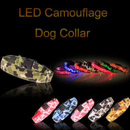 Wholesale Camo Small Dog Collars - Promotion Camo Dog LED Collar Pet Glow Collars Flashing Nylon Light Up Satety Collar for dogs 8 Colors Size S M L XL