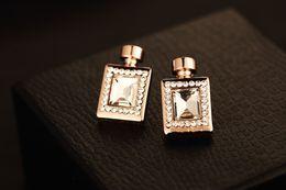 Wholesale Perfume Classic Bottles - High Quality !Fashion Jewelry Zirconia Crystal Stud Earrings Gold Plate Brand Classic Perfume Bottle Earrings For Women ER00451 no fade