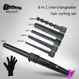 Wholesale Hair Iron Curling Set - DHL Free shipping 6 in 1 Curling Wand Set Ceramic hair Curling Tong Hair Curl Iron The Wand Hair Curler Roller Gift Set 09-32mm EU US plug