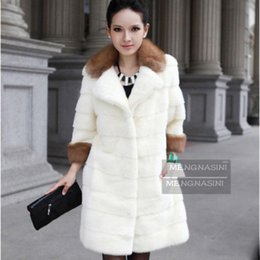 Wholesale Sell Rabbit Fur Coat - Faux Fur Winter OuterWear Warm Cool Fashion Tops Selling Plus Size S-XXXL Luxurious Imitation Fox Collars Rabbit Fur Coat