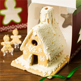 Wholesale Laser 17 - 50pcs 17*17*20cm Christmas Tree House Decoration Cake Candy Chocolate Box Gingerbread House Cookie Wedding Favors Boxes ZA1244