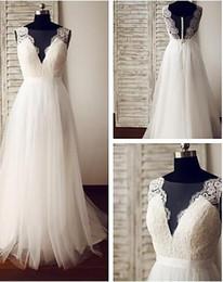 Wholesale Dramatic Train Wedding Dress - 2017 A Line Ivory Wedding Dresses Glamorous Dramatic See Through Wedding Gowns Sweep Sweep Train V Neck Lace Tulle Sleeveless Bridal Dresses