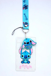 Wholesale Silver Car Rubber - 30 pcs Stitch Lanyard with Rubber Charm ID Holder Key Chain NWT