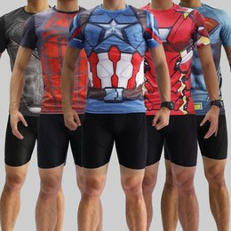 Wholesale America Cool - 2016 2017 tight jersey workout clothes Iron man captain America, superman batman spiderman Cool running fitness messi Ronaldo higuain shrit