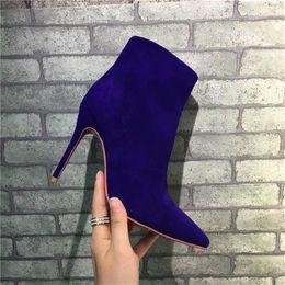 Wholesale Cheap Plastic Caps - Paris Suede Short Women Winter Boots High-heeled Zipper Rivet Pumps Cheap Violet Luxurious Brand Boots Free Shping Ankle Boots