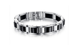 fashion magnetic therapy bracelet UK - Fashion Men Sleek Stainless Steel Magnetic Germanium Hematite Therapy Bracelet Pure Titanium Energy Power Health Care Biker Bracelet Chain