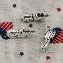 Wholesale 7mm bracelet - Wholesale- 74pcs Charms football soccer shoes 20*10*7mm Pendant, Tibetan Silver Pendant, For DIY Necklace & Bracelets Jewelry Accessories