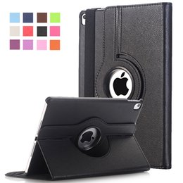 Wholesale Ipad Leather Stylus - Cover For Apple iPad Pro 9.7 inch Case PU Leather Flip Smart Stand 360 Rotating Brand Case Cover w Screen Protector Film+Stylus