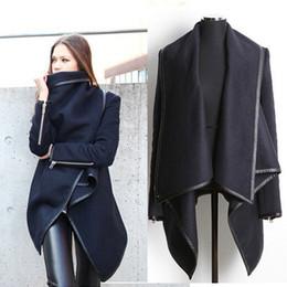 Wholesale Bamboo Batting - Woolen Overcoat Womens fashion Outerwear Trench Coats Women Slim Wool Coats Winter Warm Long Jacket Windbreaker Casual Trim Asymmetric Rules