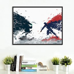 Wholesale Original Watercolor Batman vs Superman Pop Movie A4 Art Print Poster Kids Room Wall Picture Canvas Painting Home Decor No Frame