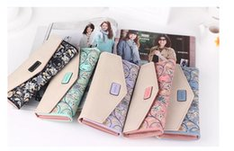 Wholesale Fresh Flower Cards - 2016 New Fashion Envelope Women Wallet Hit Color 3 Fold Flowers Printing PU Leather Wallet Long Coin Purse