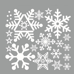 Wholesale Snowflake Vinyl Window Stickers - Christmas white Snowflakes Sticker Windows Glass cabinet Wall stickers New Year home decoration Wall Stickers Wallpaper 0218
