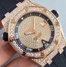 Wholesale Bling Wristwatch - Luxury JF Factory Mens Automatic Rose Gold 15703 Watch Full Pave Bling Diamond Dial Men Rhinestone Watches ETA 2824 Royal Date Wristwatches