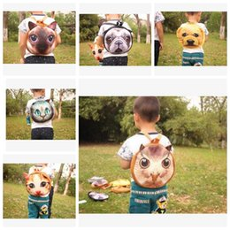 Wholesale Soft Dog Backpacks - Kids backpack Cat Animal 3D Cat Dog Soft Children Bags Backpacks baby student bookbag school bags LJJK807