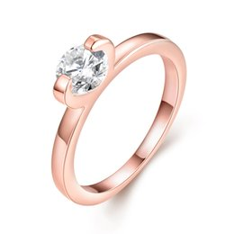 Wholesale Cheap Rose Gold Rings - 2016 hot selling ladies ring simple design zircon rose gold ring cheap fashion a variety of sizes wholesale jewelry