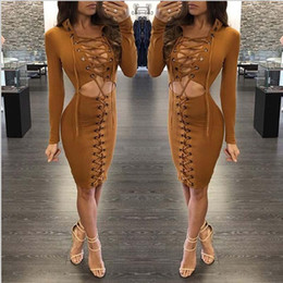 Wholesale Tight Short Evening Dresses - Womens Sexy Long Sleeved Cocktail Party Evening Short Dress Bodycon Tight Lace Up Dresses Clubwear