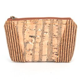 Wholesale Wooden Purses - Wholesale- Natural cork handmade coin purse women small wallet strip skin of tree vegan high quality wooden Eco Bag-153