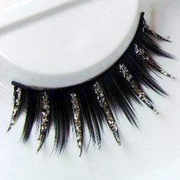 Wholesale Exaggerated Stage Makeup - Wholesale-Art Exaggerated False Eyelashes Cross False Eyelashes Thick Silver Sequins Smoked Makeup Stage Makeup Sequins False Eyelashes