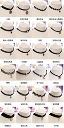 Wholesale Lace Circles - Harajuku retro wool belt lace neck collar female clavicle short chain necklace sweater chain necklace punk girl