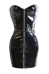 Wholesale Wet Latex Dress - Sexy shiny black PVC wet look off shoulder bodycon dress plus size hot latex dress PVC latex teddy catsuit with front zipper clubwear dress