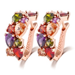 Wholesale 14k gold flower earrings - Swarovski elements colorful zircon crystal ear clip sumptuous dinner cooper alloy stud earrings women girl top quality jewelry gift